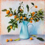 Cumquat branch in blue jug