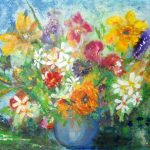 Posies in a Blue Vase