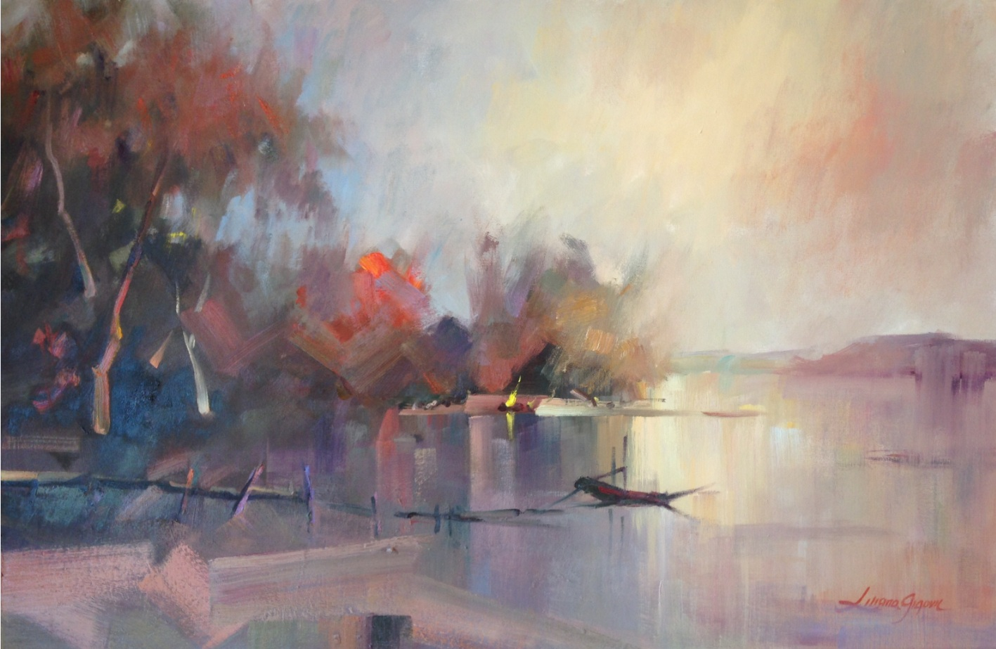 15-Autumn in Bright, 93x63cm-Framed $ 1480,