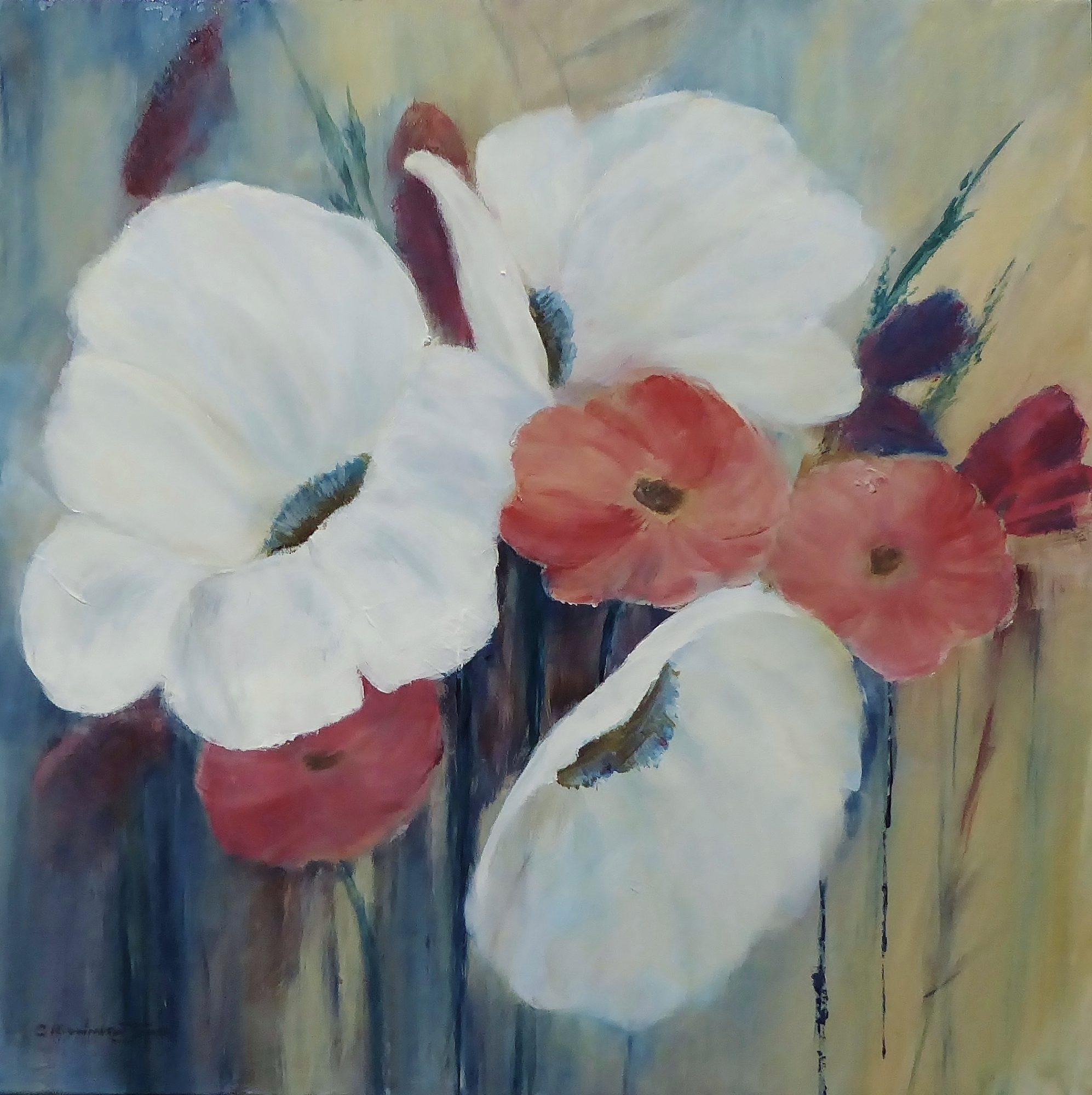 Garden Delights, Clare Riddington Jones, 40cm x 40cm, Acrylic