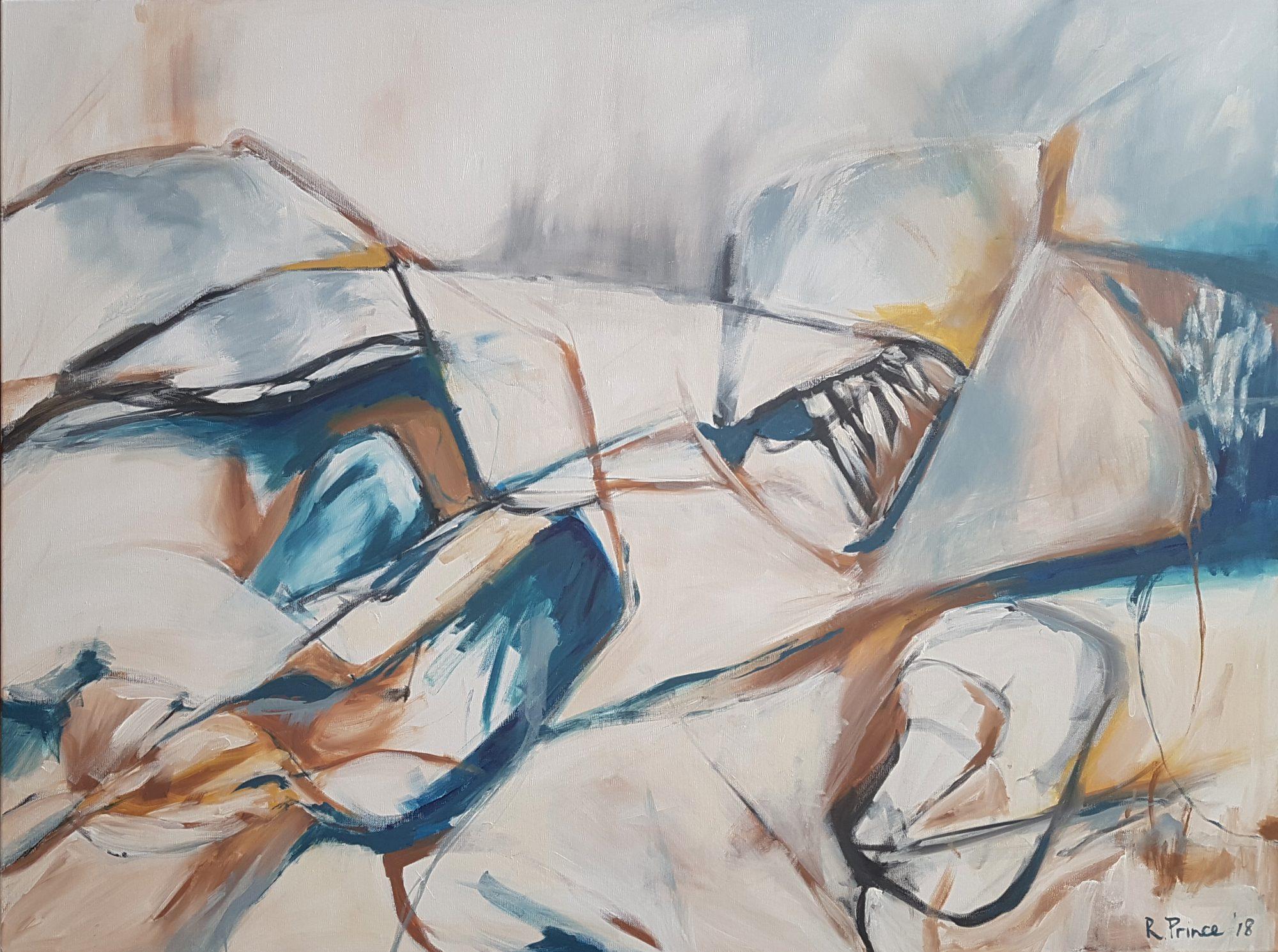 Rachel Prince Cliff's Edge 2018 122cmx92cm $1850 Oak Shadow Frame