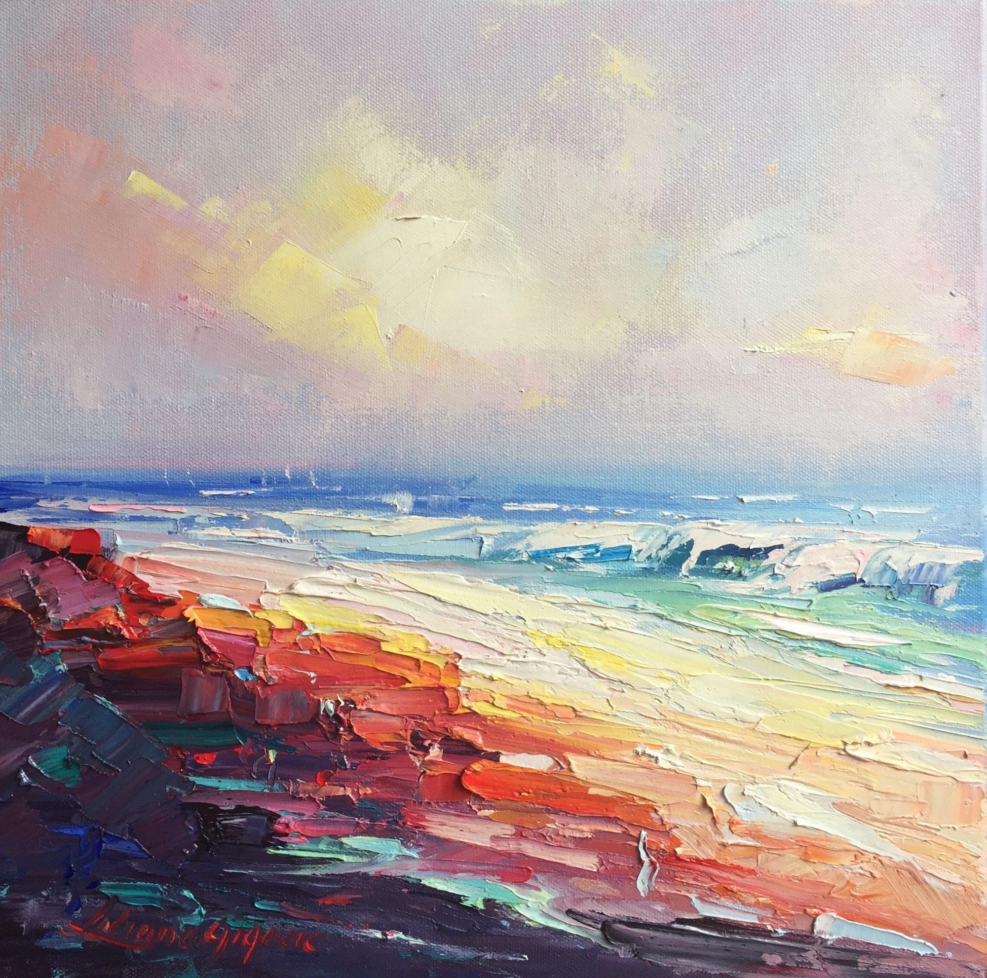 69- Coloful sand on Rainbow beach 35.5×35.5cm