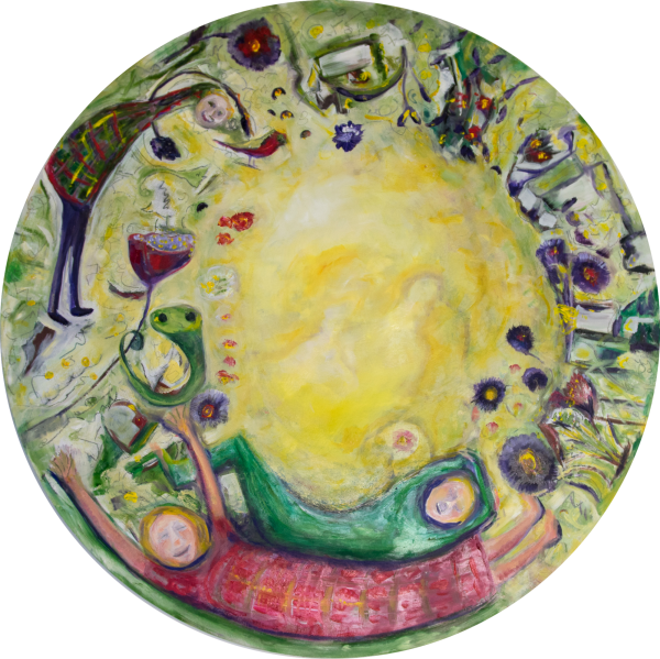 In The Garden Two Oil On Round Birch Panel 60 Cm Diameter