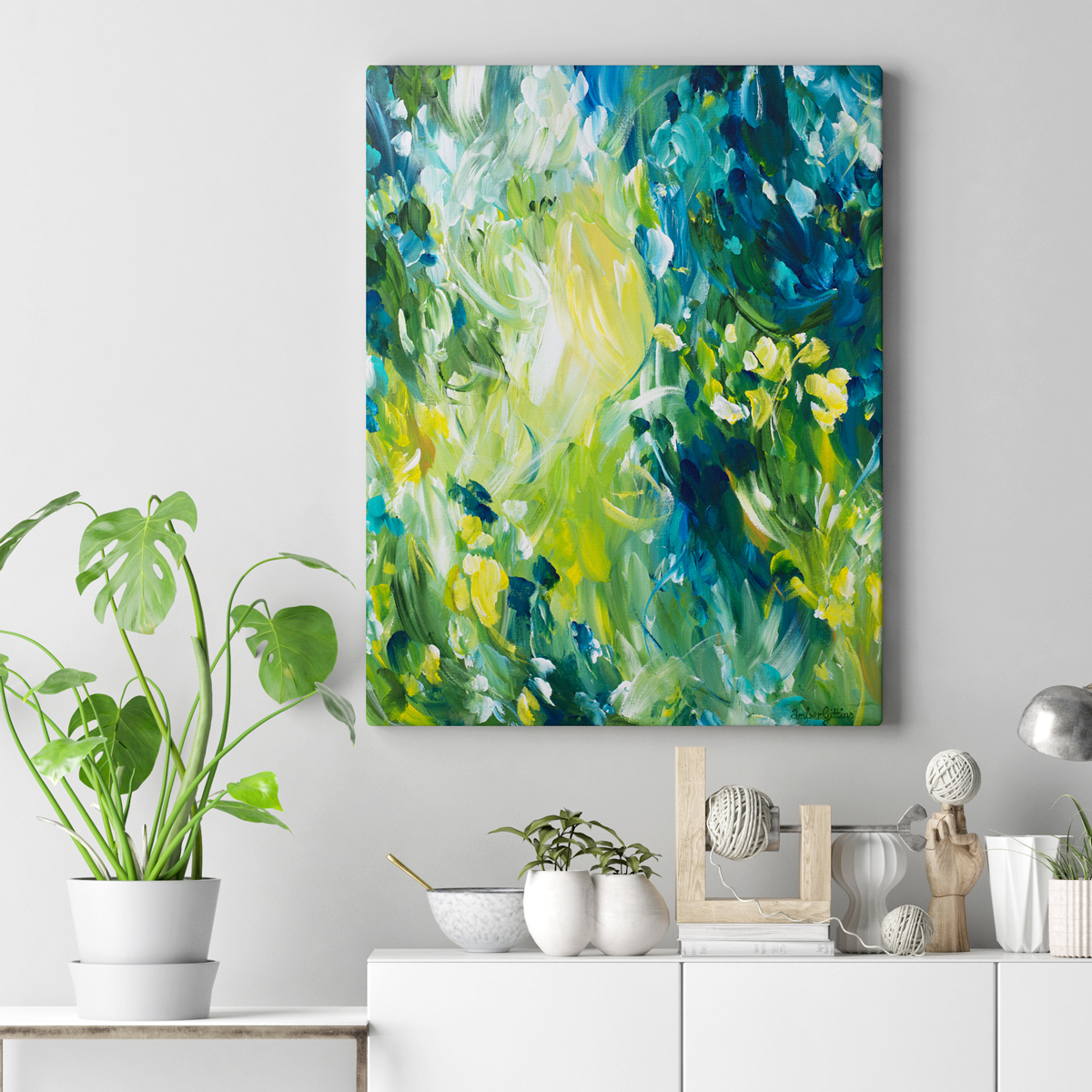 Springtime-Fantasy-on-wall-by-Amber-Gittins.-Abstract-artist