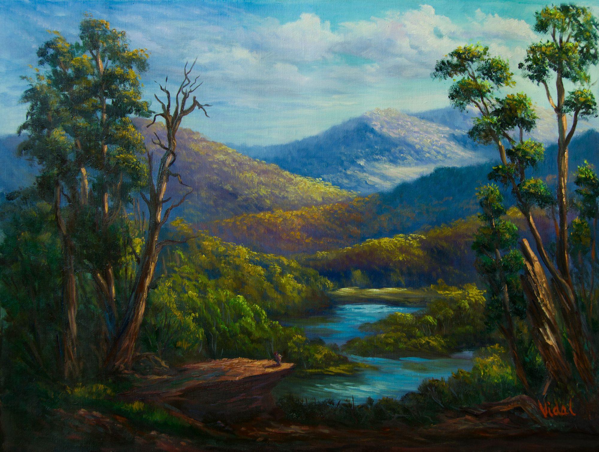 Original Australian Landscape Oil Painting Snowy River Victoria By Chris Vidal