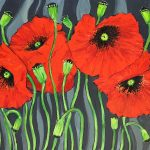Red Poppies on Zebra Background