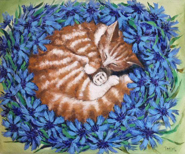 Sweet Dreams Cat Sleeping In Cornflowers 1