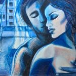 Blue Lovers – drawing with poem