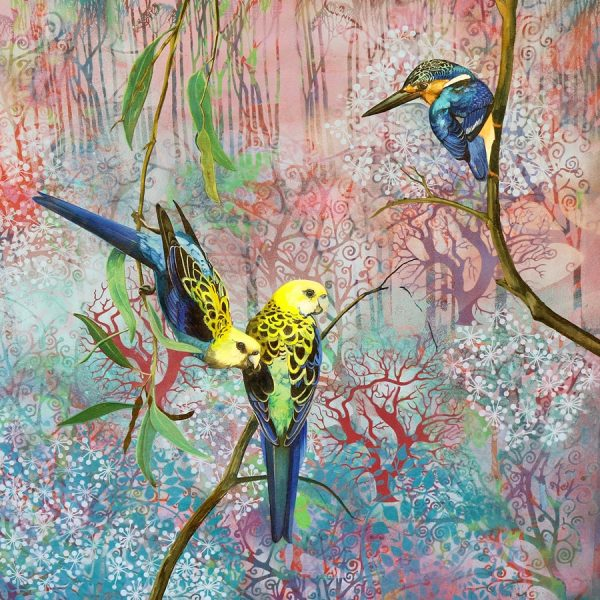 Equilibrium Pale Headed Rosellas And Azure Kingfisher.web