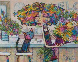 Florist's Companion By Teresa Mundt Colourful Colorful Cat Florist Quirky Art Painting