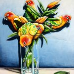 Sun Conure Lilies Ltd Ed Print of 30