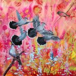 Taking Flight – crested pigeons