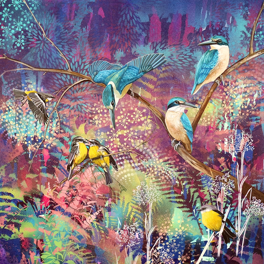 Turquoise And Gold Sacred Kingfishers And Eastern Yellow Robins.web