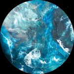 """Deep Waters"" – Resin Ocean Abstract on 80cm Round Board"