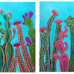 Cactus Party No 1 and 2 Diptych