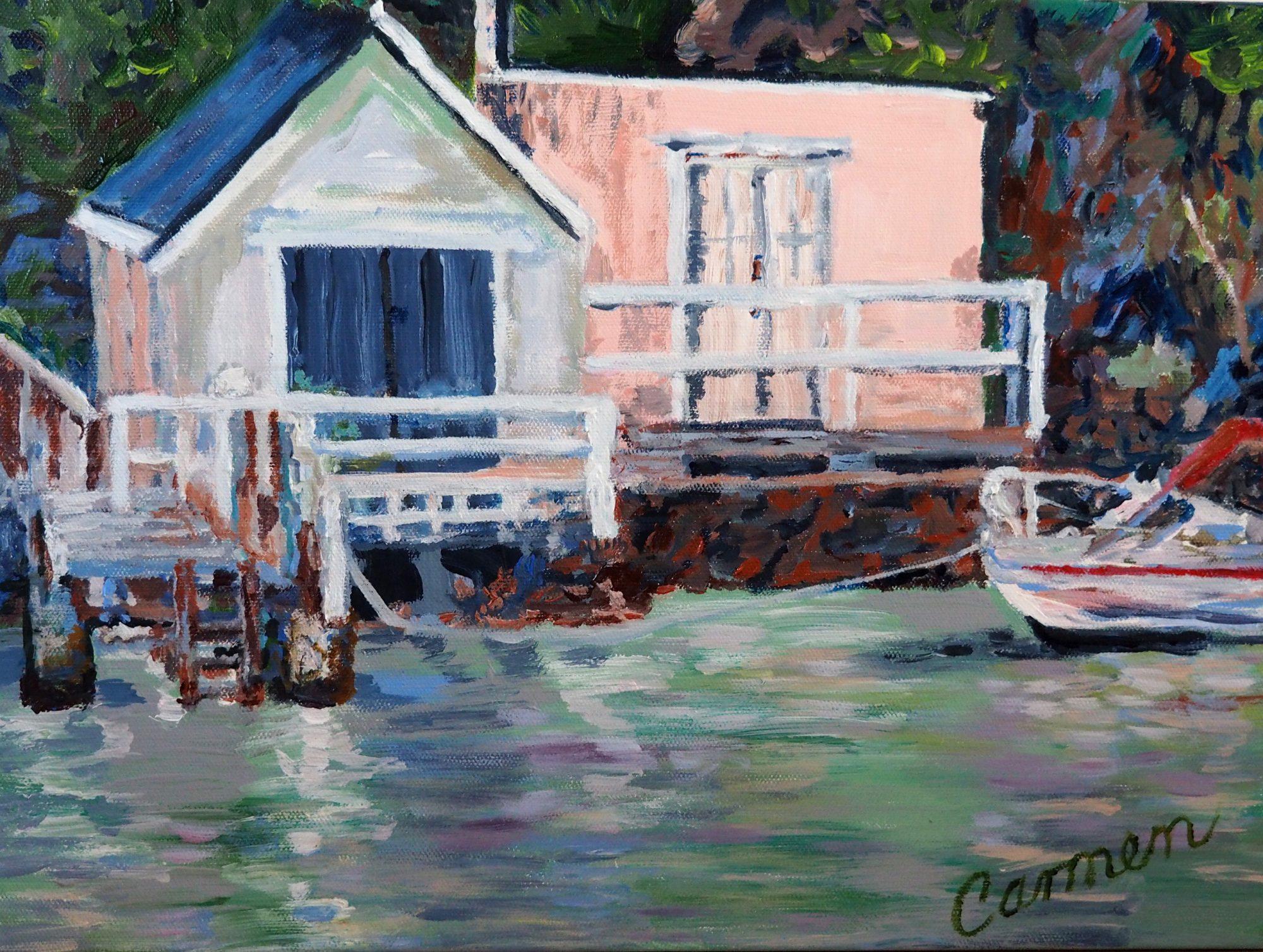 Carmen Griffen Boat Shed Waiting 40cm X 30cm Acrylic On Quality Canvas Medium Resolution