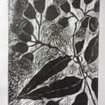Flowering gum woodblock print