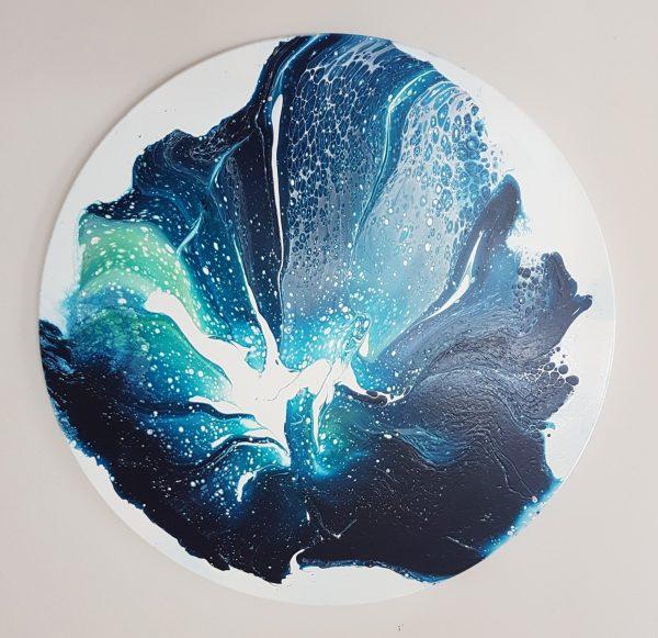 Loving The Blues, Clare Riddington Jones, 40cm X 40cm Timber Circle