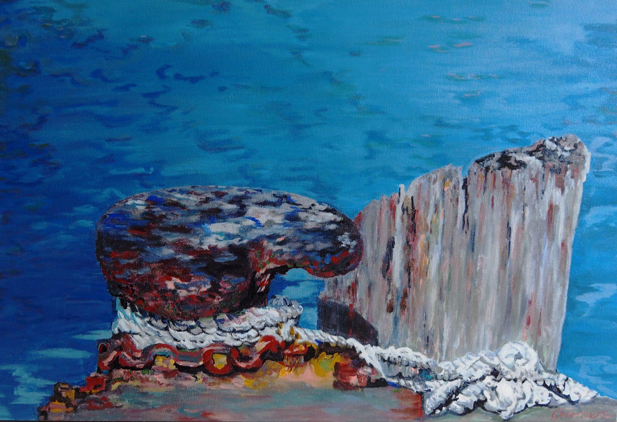 Carmen Griffen Rope On Wharf 2018 Acrylic On Canvas 90 X 60cm