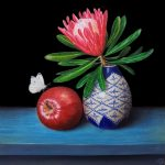 Pink protea and Red delicious apple