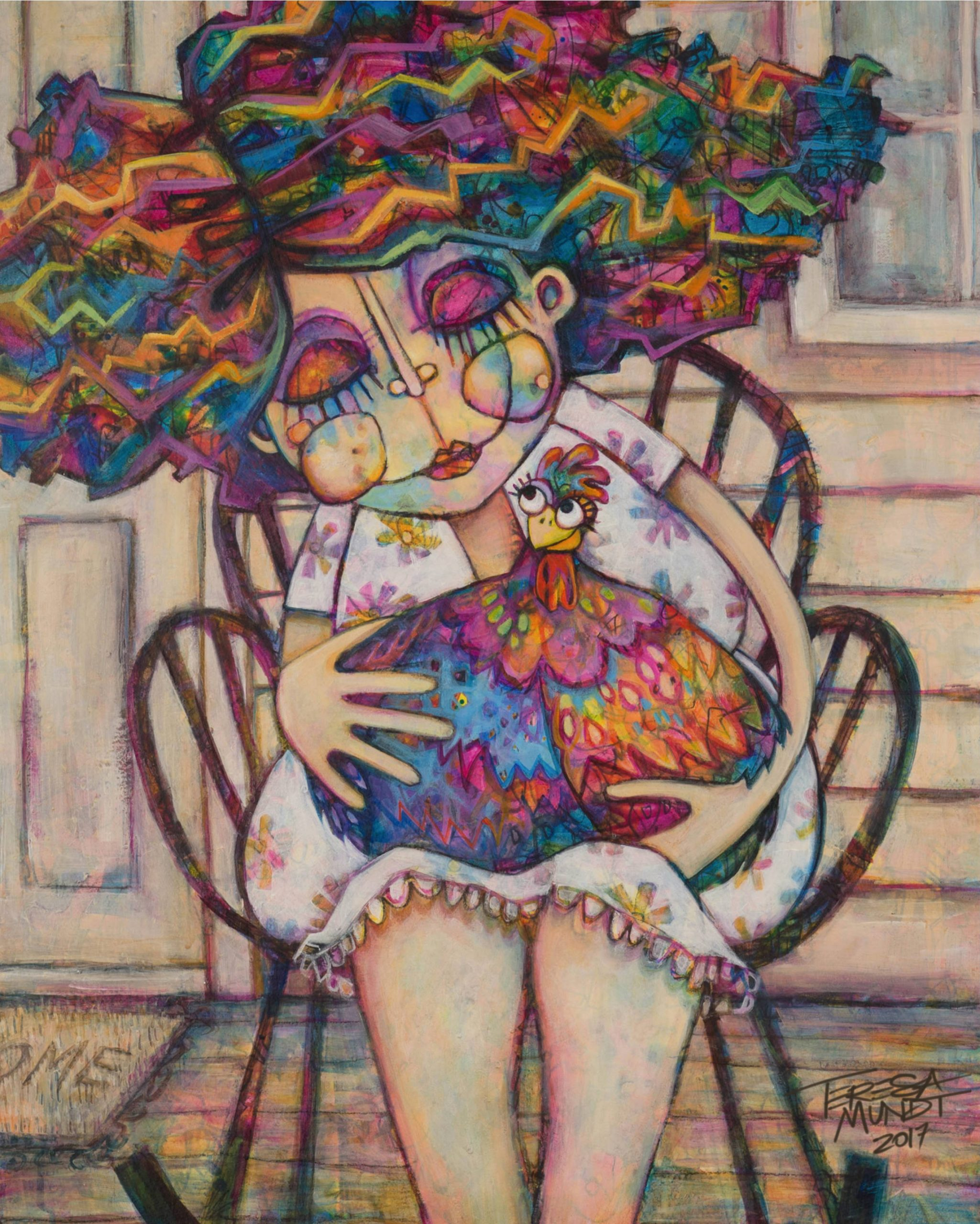 Betsy's Bestie By Teresa Mundt Colourful Colorful Chicken Chook Lady Quirky Art Painting