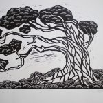 Tea Tree lino cut print