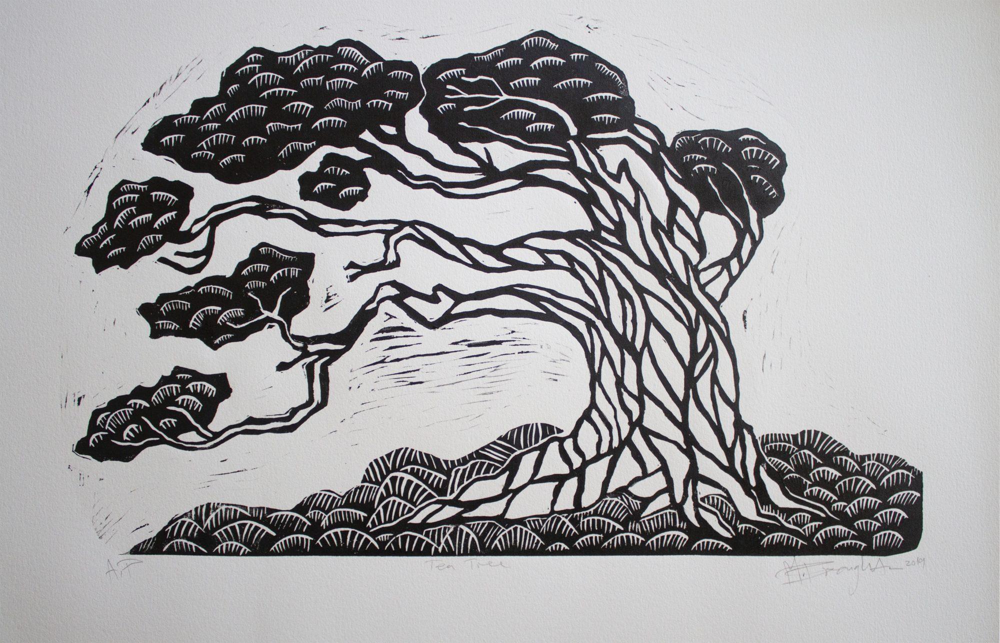 Tea Tree Lino Cut