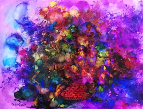 Abstract Flowers In Basket