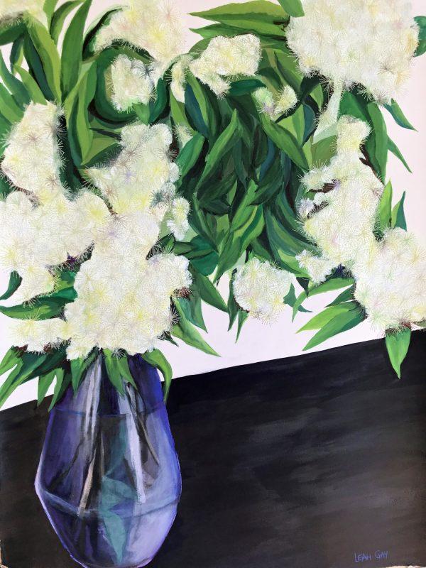 Lemon Myrtle Flowers In A Purple Vase By Leah Gay 2019 Two