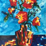 Red flowers in Pablo's vase
