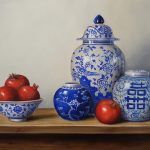 Blue and white chinaware with pomegranates
