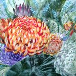 WILD AND FREE – Chrysanthemums Fuego Dark- Ltd Ed Giclee Print