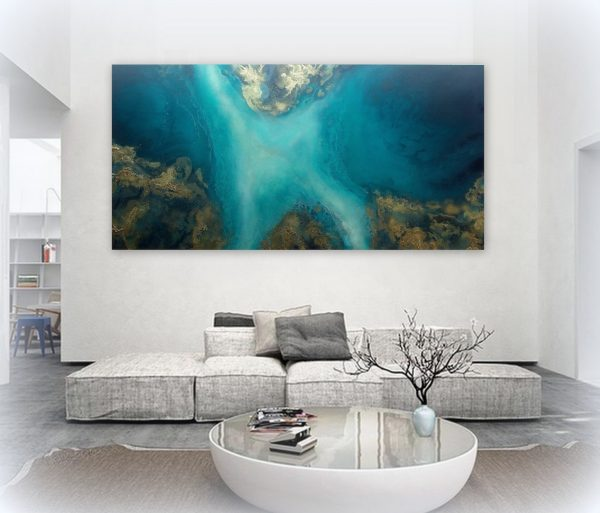 "Large Ocean Art For Sale ""jade Waters"" By Petra Meikle De Vlas"