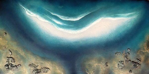 """moonlit""ocean Painting For Sale By Petra Meikle De Vlas2"