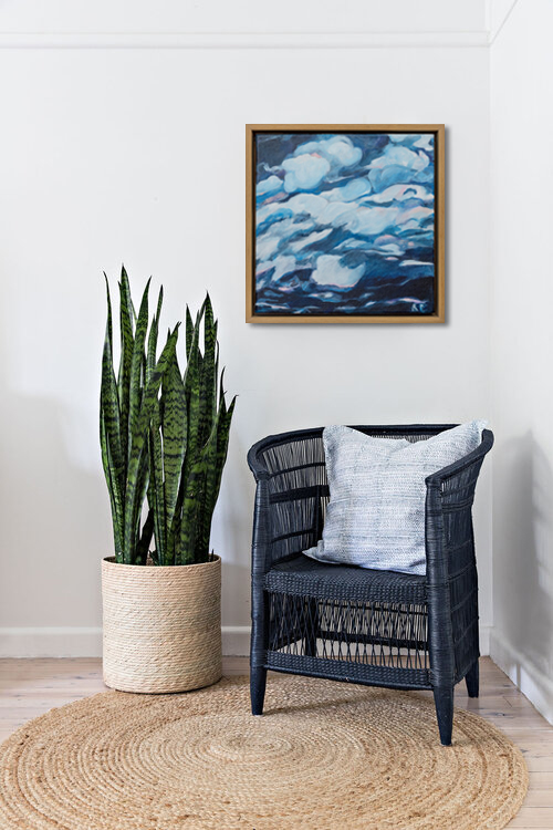 Time Will Tell Blue Wicker Chair