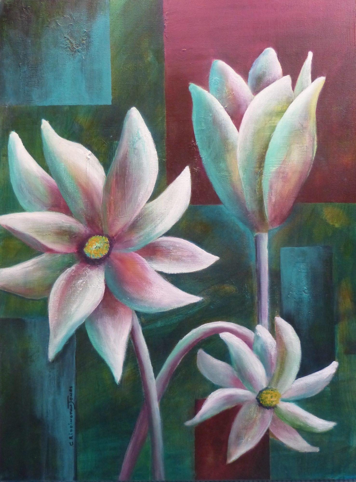 Flannel Flowers, Mixed Media, 45cm X 60cm Clare Riddington Jones