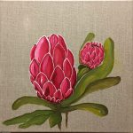 Pink Proteas on linen