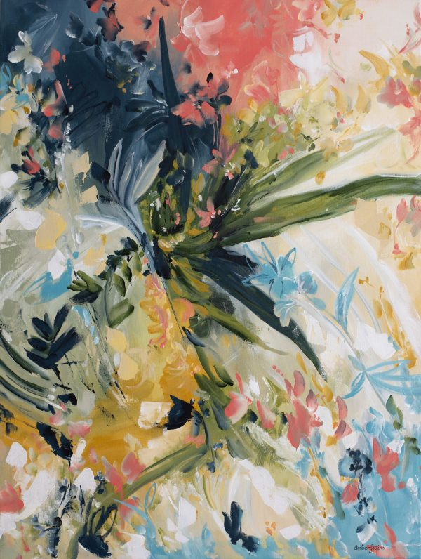 Anticipation Abstract Floral Painting By Artist Amber Gittins