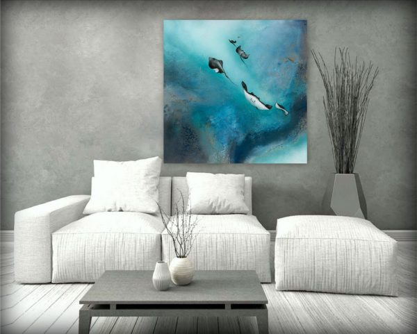 Free Stingrays Of The Barrier Reef Painting For Sale By Petra Meikle De Vlas2