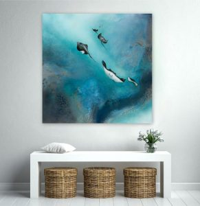 Free Stingrays Of The Barrier Reef Painting For Sale By Petra Meikle De Vlas4