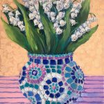 Lily of the valley in a mosaic vase