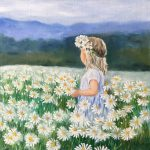 Little girl with white daisy flowers
