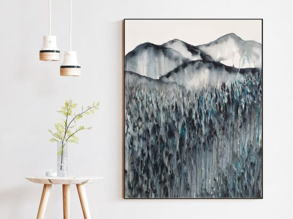 Artist Leni Kae Field Of Dreams At Midnight Interior Design Lounge Room Art 2 Abstract Landscape With Mountains 76x56cm Smjpg