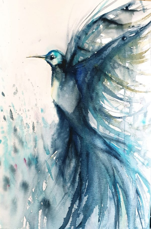 Artist Leni Kae Flight Of The Hummingbird Bird Art On Paper Original
