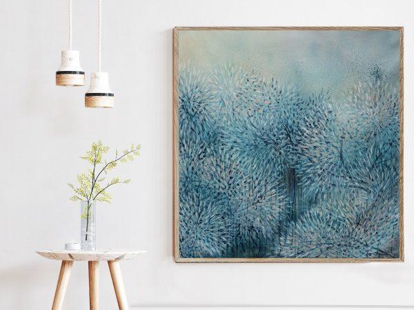 Artist Leni Kae Interior Design Setup 2a Sm Bloom Through The Winter Blue 87x87cm