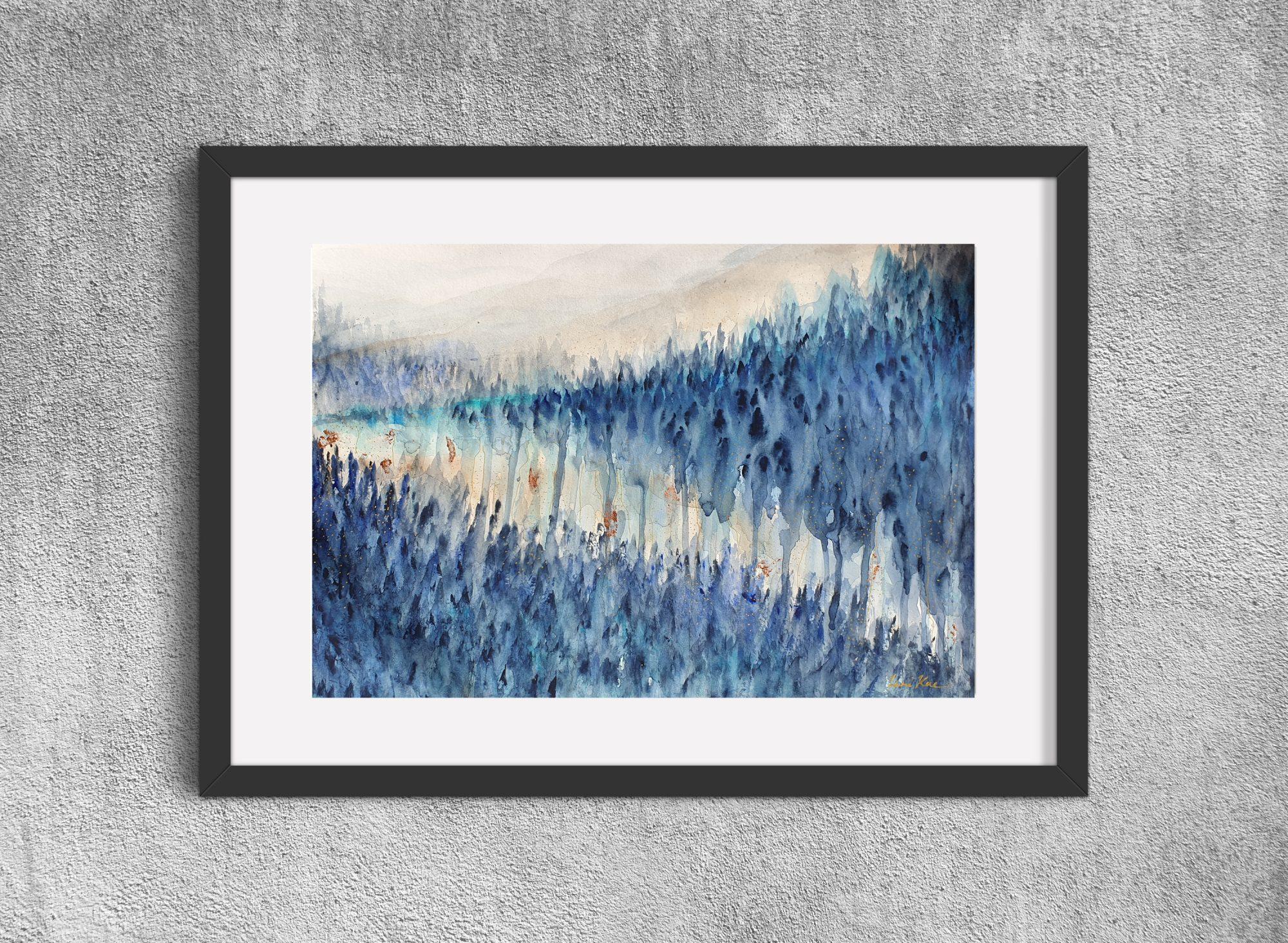 Artist Leni Kae Sunrise Dreaming Watercolour Landscape Framed Mockup2