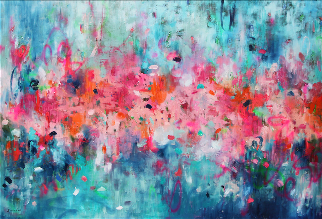 Belinda Nadwie Art Abstract Painting Only With A Pure Heart 118x80x4 Sharpened Wip With Signature Thumb