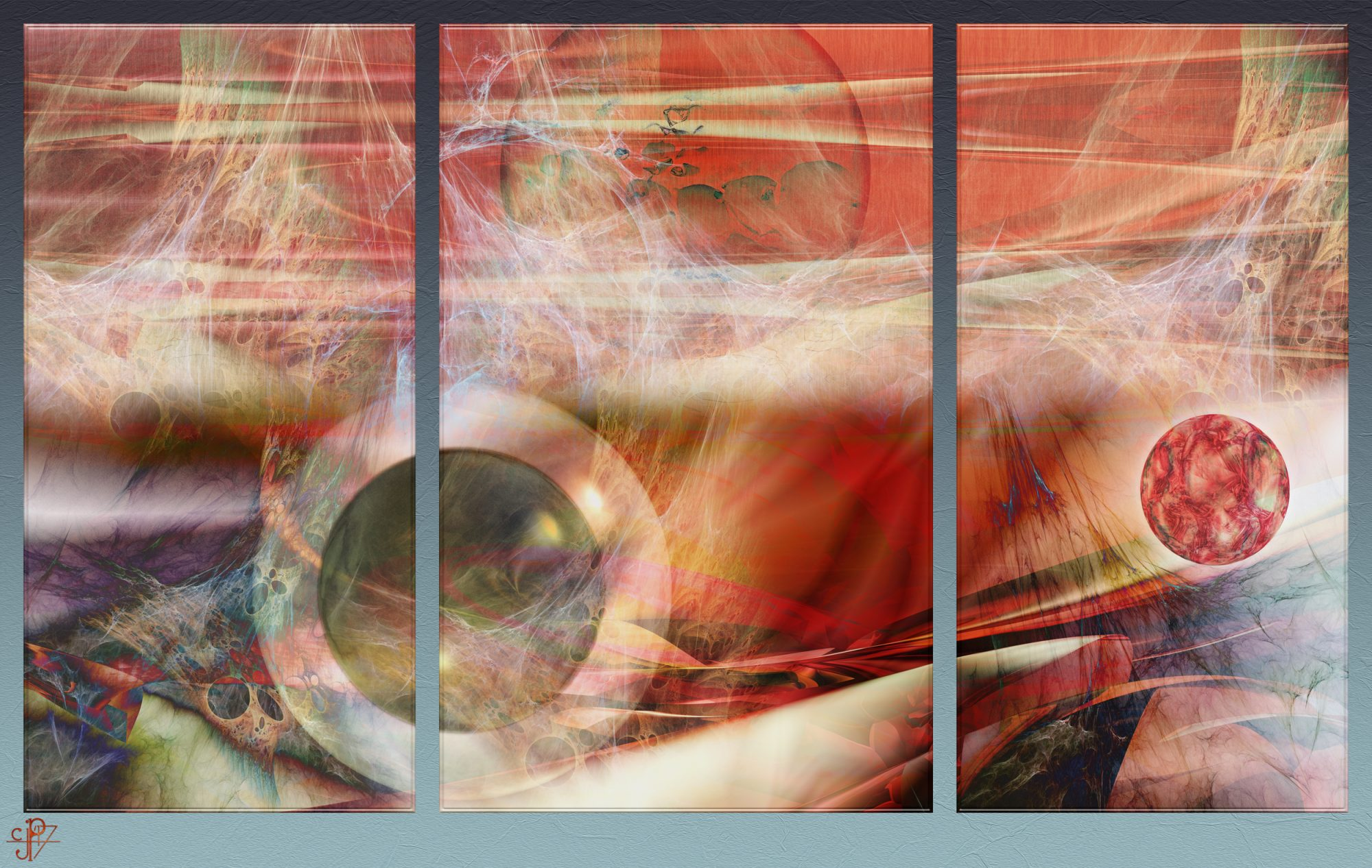 Fractal & Sphere Triptych 60x38inches