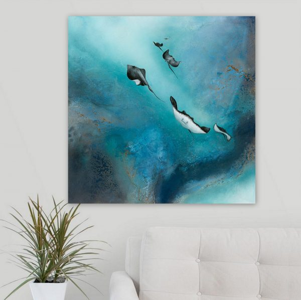 Free Stingrays Of The Barrier Reef Painting For Sale By Petra Meikle De Vlas1