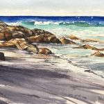 Coolum Rocks Original watercolour